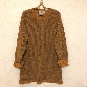 1990s Oversized  Sweater Cotton Linen Mustard L